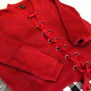 Lace up oversized red sweater